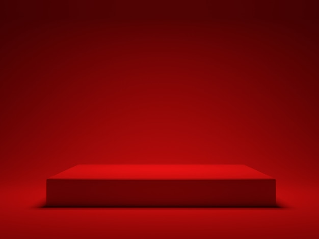 Red platform on red background for showing product. 3d rendering
