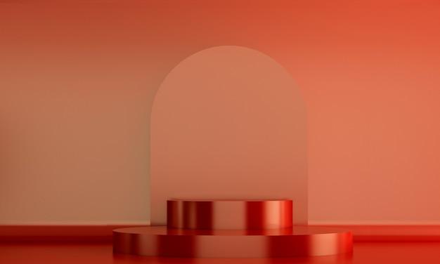 赤い壁の背景を持つ赤い表彰台化粧品ディスプレイスタンド