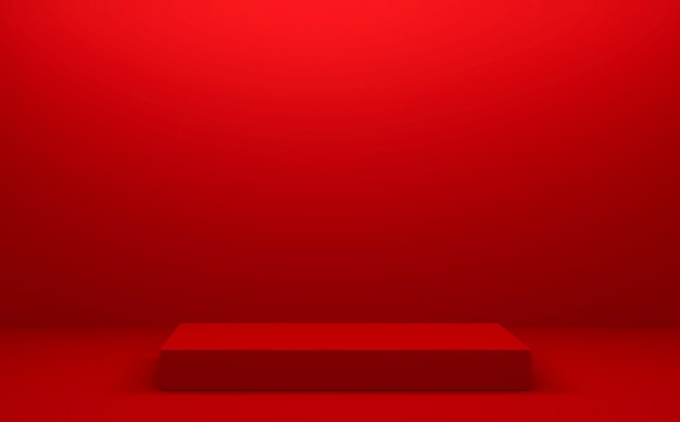 The red podium geometric for product presentation. 3d rendering
