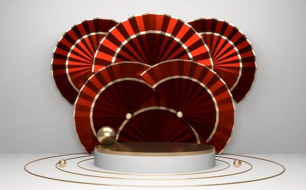 赤い表彰台、最小限の赤い幾何学的デザイン。3dレンダリング