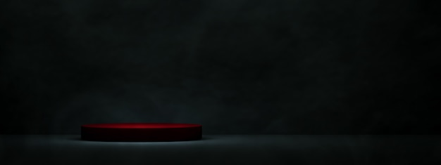 Red podium for product display over dark room  background. 3d rendering, panoramic mock-up