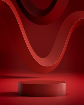 추상적 인 구성으로 빨간 연단 스탠드