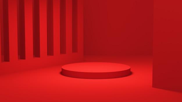 赤い表彰台。幾何学的な抽象的な台座シーン。化粧品のプレゼンテーションを行うシーン。デザインの空きスペースをモックアップします。ショーケース、店頭、陳列ケース、3dレンダリング