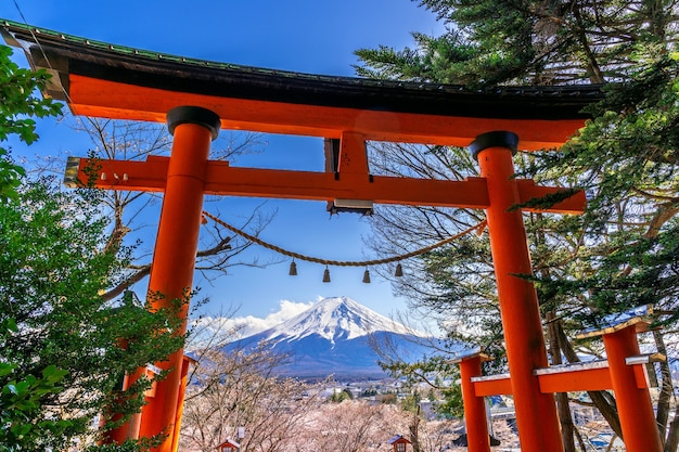 Red pole and fuji mountains in japan.