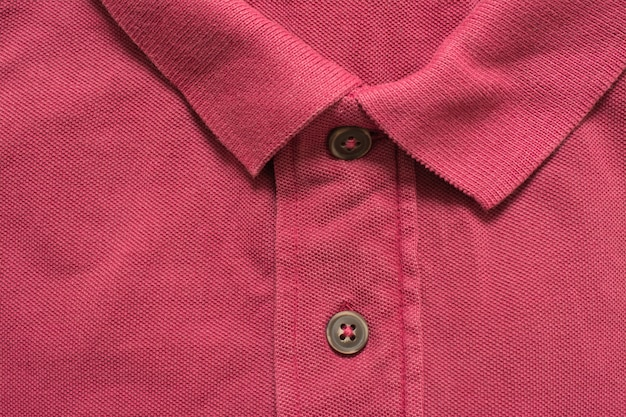 Red polo shirt textured, cotton fabric.