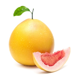 Red pomelo citrus fruit with a slice isolated