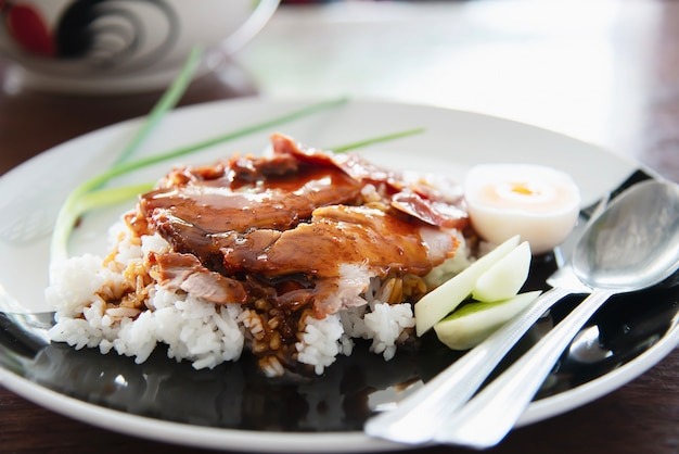 Red pork and rice - famous thai food recipe