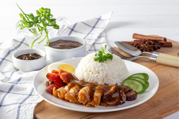 Red pork rice on a white background