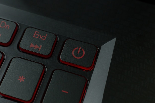 The red power button on keyboard laptop  image.