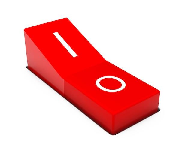 白い背景の上の赤い電源スイッチ
