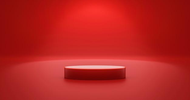 空白の背景を持つ空のディスプレイ上の赤い製品の背景スタンドまたは表彰台の台座。 3dレンダリング。