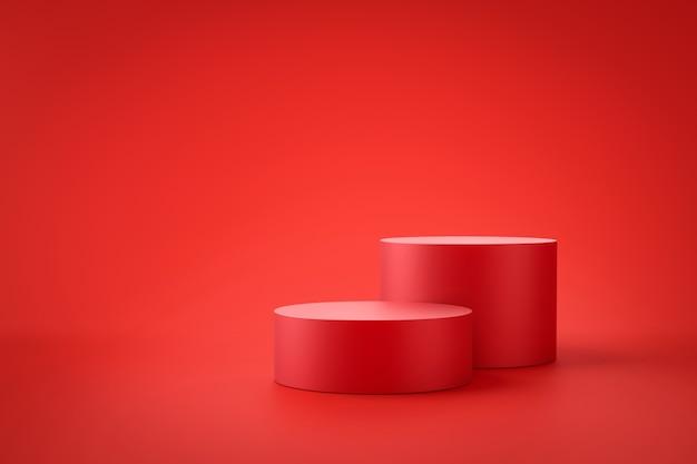 空白の背景を持つプロモーションディスプレイ上の赤い製品の背景スタンドまたは表彰台の台座。 。