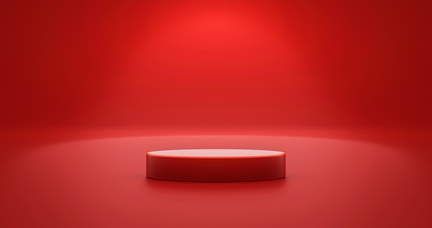 Red product background stand or podium pedestal on empty display with blank backdrops. 3d rendering.