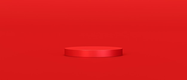 Red product background stand or podium pedestal on empty display with blank backdrops.