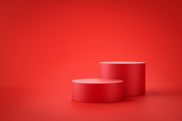 Red product background stand or podium pedestal on promotional display with blank backdrops. .