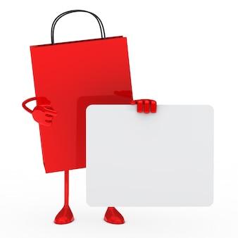 Borsa acquisto rosso con una carta bianca