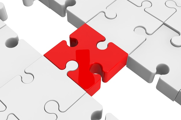 Red puzzle as a bridge with a white parts on a white background