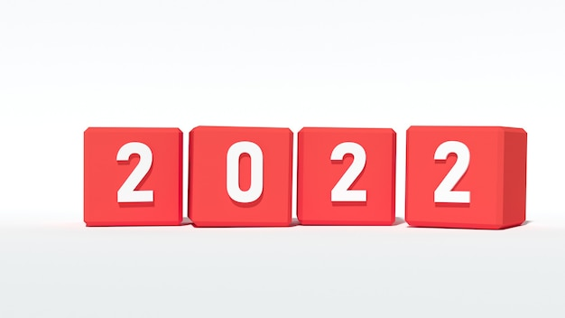 Red puzzle of year 2022, 3d rendering
