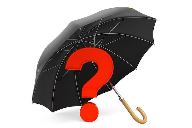 白い背景の傘の下に赤い疑問符