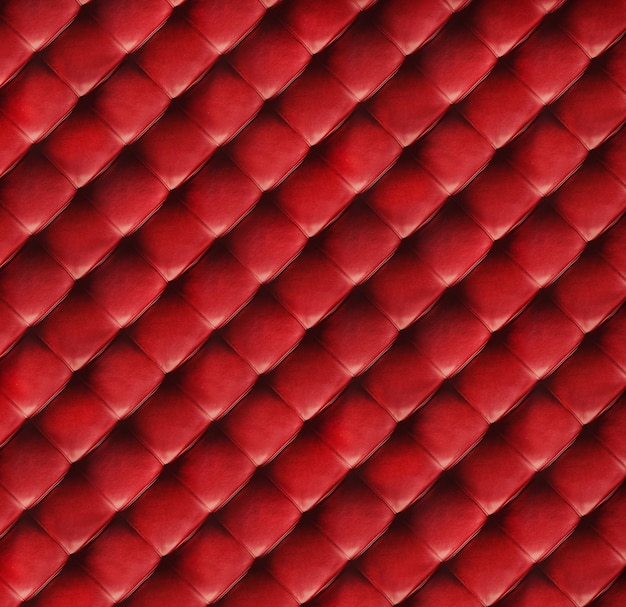 Red quilted leather texture close up