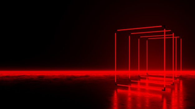 Red rectangle neon light on dark floor