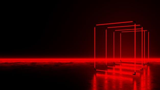 어두운 바닥에 빨간색 사각형 네온 불빛