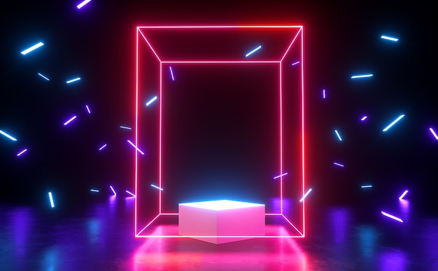 Red rectangle spectrum neon light glow showcase with blank podium and ribbon 3d render