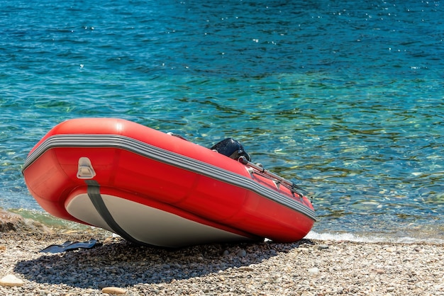 Red rescue inflatable boat