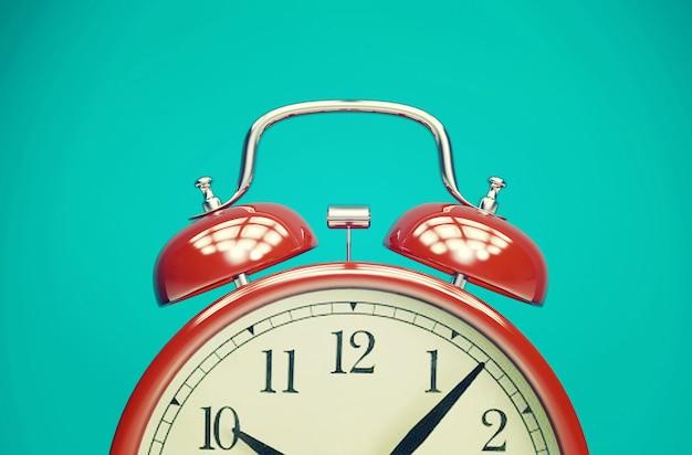 ビンテージフィルター、3 dレンダリングと青い背景に赤のレトロな目覚まし時計