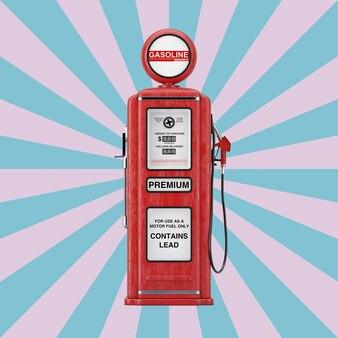 빈티지 별 모양 분홍색과 파란색 배경에 빨간색 복고풍 가스 펌프. 3d 렌더링