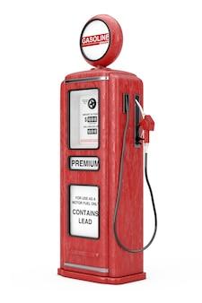 흰색 바탕에 빨간색 복고풍 가스 펌프입니다. 3d 렌더링