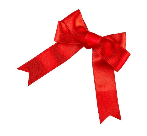 白で隔離の赤いリボンの弓