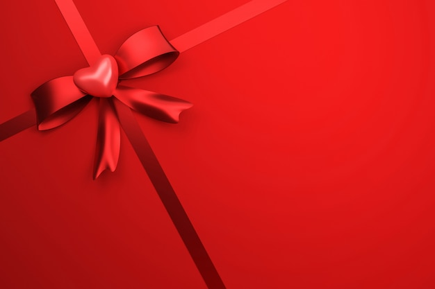 Red ribbon on gift box background with happy valentine festival or celebration birthday. special of packaging for love heart style. 3d rendering.