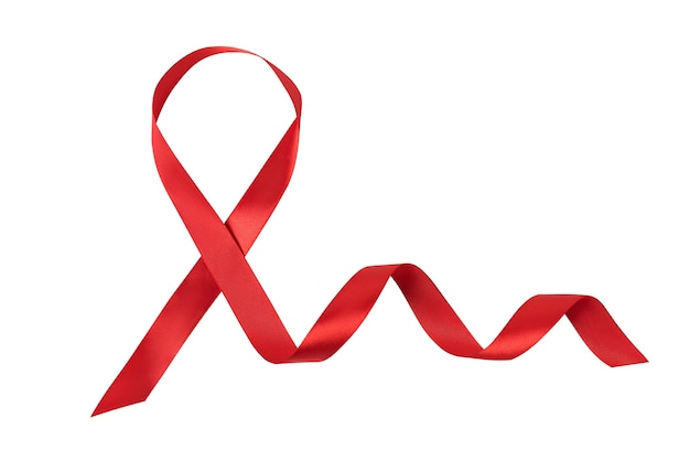 Red ribbon isolated on white background. aids control symbol. directly above.