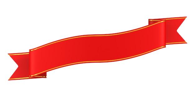 흰색 바탕에 빨간 리본입니다. 격리 된 3d 그림