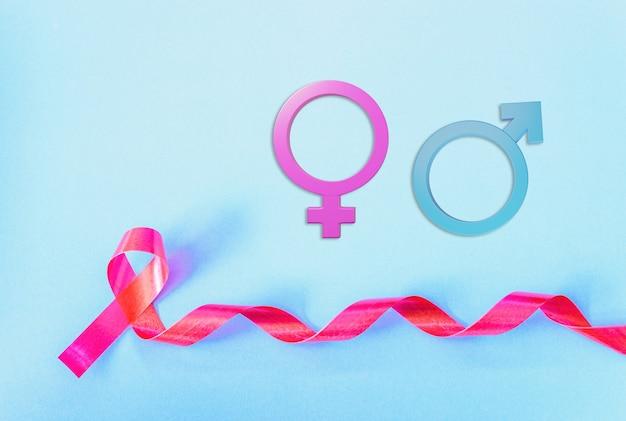 레드 리본 지원 hiv aids 및 남성 및 여성 성별 표시