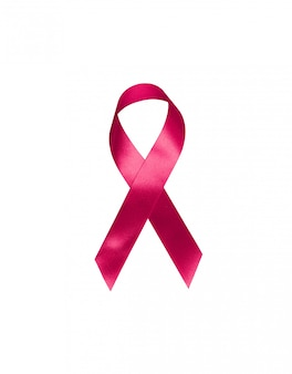 Red ribbon symbol bow color raising awareness on people living with tumor breast cancer isolated