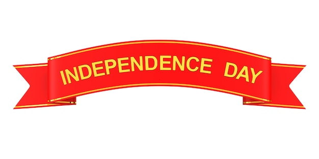 Red ribbon with text independence day on white background. isolated 3d illustration