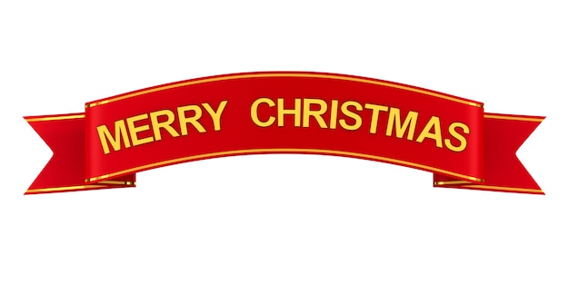 Red ribbon with text merry christmas. isolated 3d rendering