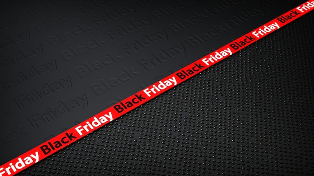 黒の背景にブラックフライデーセールの赤いリボン