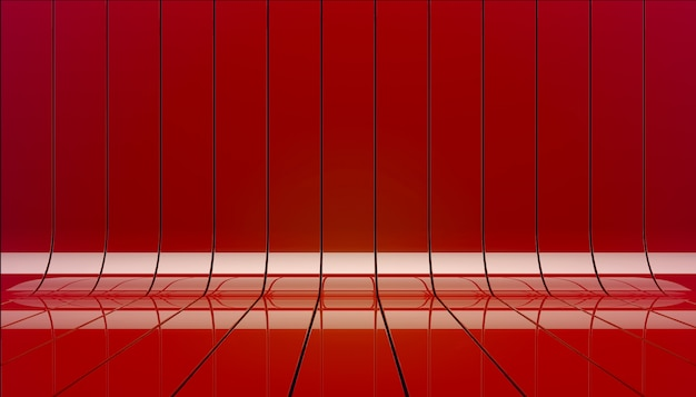 Red ribbons stage background 3d illustration.