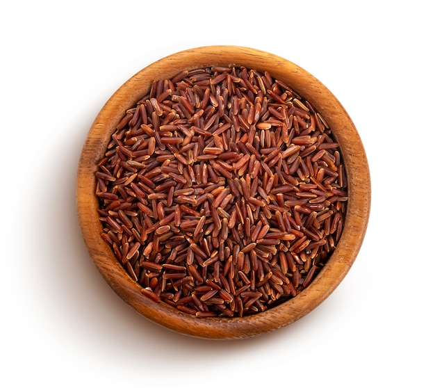 Red rice isolated on white with clipping path