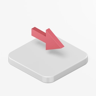 Red right arrow icon in 3d rendering interface ui ux element