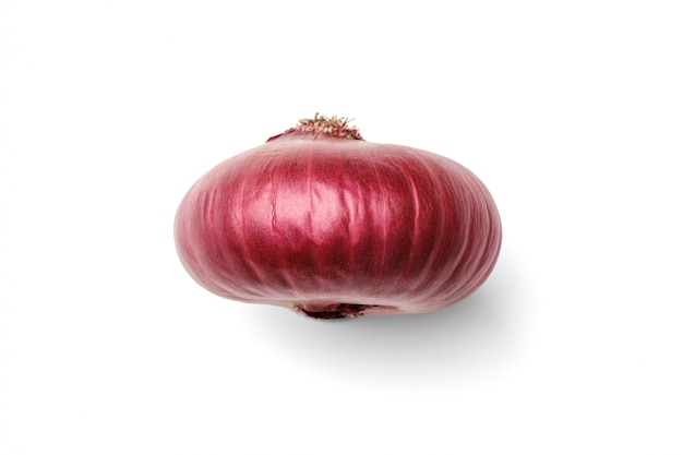 Red ripe onion isolated on white