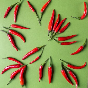 Red ripe small chili peppers pattern