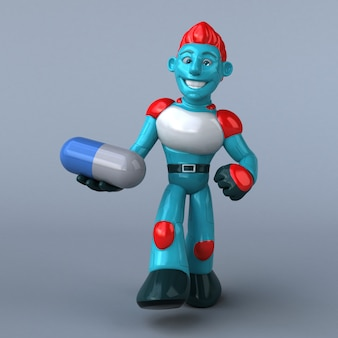 Red robot 3d illustration