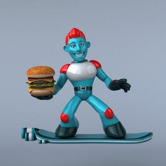 赤いロボットのイラスト
