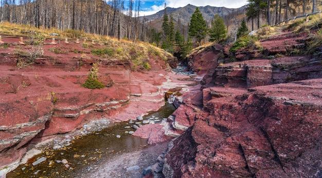 Красный каньон утеса в утре сезона листвы осени. голубое небо, белые облака и горы на заднем плане. национальный парк уотертон-лейкс, альберта, канада.