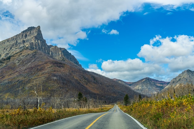 Red rock canyon parkway in autumn sunny day morning. waterton lakes national park, alberta, canada.
