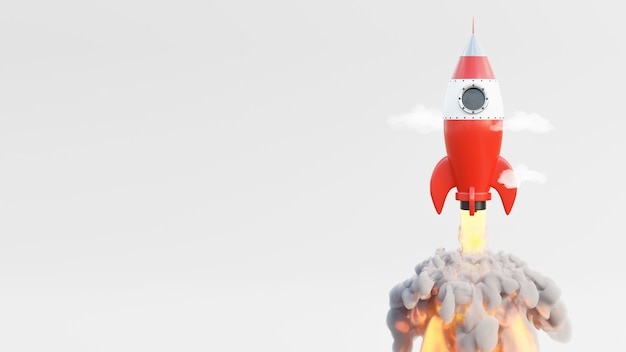 空への赤いロケット発射